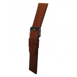 Light Brown Perforated Leather Watch Band