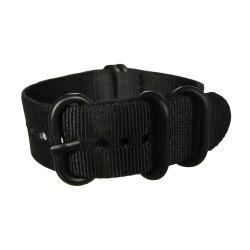 Bracelet Nato Noir avec boucle et passants noirs ronds