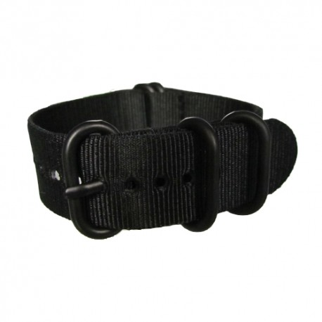 Black Nato Strap with Round Black Buckle and Keepers