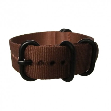 Brown Nato Strap with Round Black Buckle and Keepers