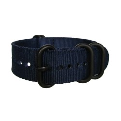 Bracelet Nato Bleu avec boucle et passants noirs ronds