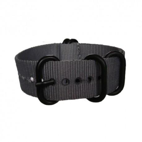 Bracelet Nato Gris avec boucle et passants noirs ronds