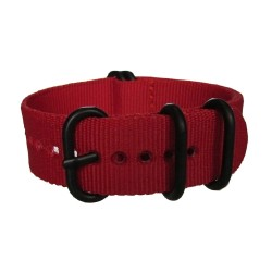 Red Nato Strap with Round Black Buckle and Keepers
