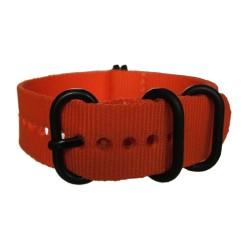 Bracelet Nato Orange avec boucle et passants noirs ronds