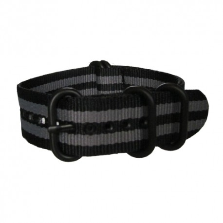 Black and Grey James Bond Nato Strap with Round Black Buckle and Keepers