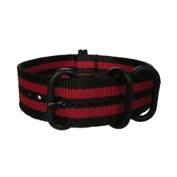 Black and Red James Bond Nato Strap with Round Black Buckle and Keepers