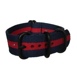 Blue and Red Nato Strap with Round Black Buckle and Keepers
