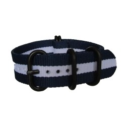 Blue and White Nato Strap with Round Black Buckle and Keepers