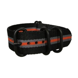 Black Grey Orange Nato Strap with Round Black Buckle and Keepers