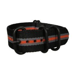 Bracelet Nato Noir Gris Orange avec boucle et passants noirs ronds