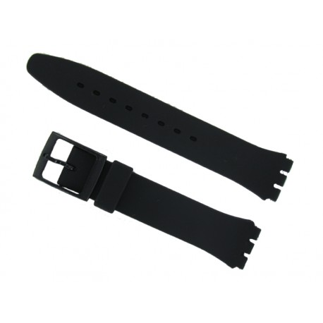 Black Silicone Strap for Swatch Watch