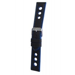 Black Racing Watch Strap with Blue Stitching and Edges