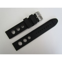 Black Racing Silicone Strap with Matching Stitching