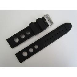 Bracelet Montre Silicone Racing Noir Piqûre Ton sur ton
