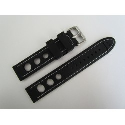 Black Racing Silicone Strap with White Stitching