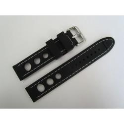 Bracelet Montre Silicone Racing Noir Piqûre Blanche