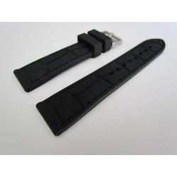 Bracelet Montre Silicone Imitation Croco Piqué Noir