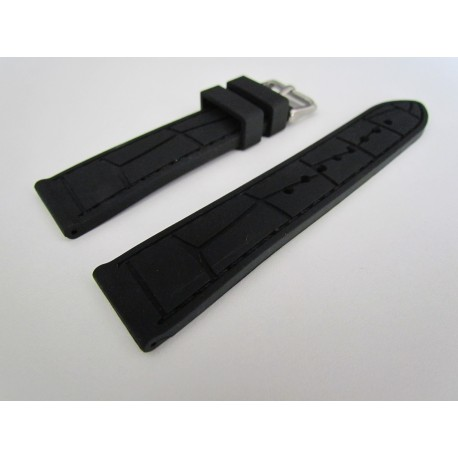 Black Croco Imitation Silicone Strap with Black Stitching