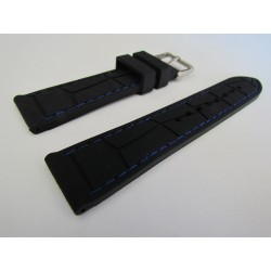 Black Croco Imitation Silicone Strap with Blue Stitching