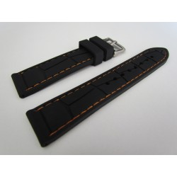 Black Croco Imitation Silicone Strap with Orange Stitching