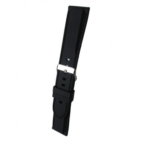 Bracelet Montre Silicone Sport Piqué Noir Bombage Forme Carrée