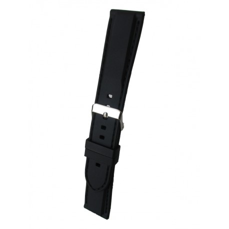 Silicone Watch Band With Black Stitching and Square Padding