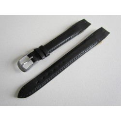 Black Open End Leather Watch Strap