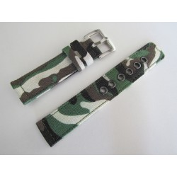 Bracelet de Montre Camouflage Kaki en Nylon Tressé