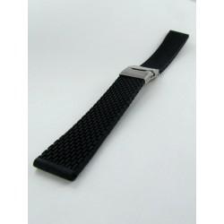 Bracelet Montre Silicone Noir Avec Boucle Déployante Motif Mini Mailllons