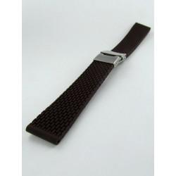 Bracelet Montre Silicone Marron Avec Boucle Déployante Motif Mini Mailllons