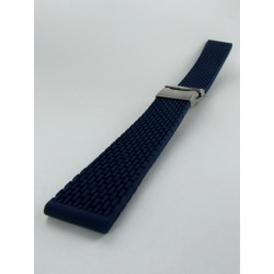 Bracelet Montre Silicone Bleu Marine Avec Boucle Déployante Motif Mini Mailllons
