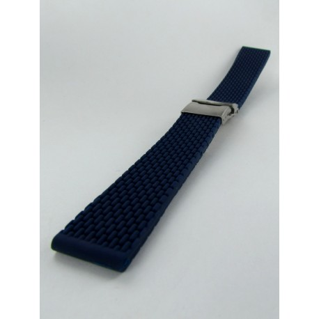 Navy Blue Silicone Strap With Folding Buckle and Mini Links pattern
