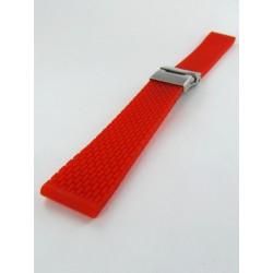 Bracelet Montre Silicone Rouge Avec Boucle Déployante Motif Mini Mailllons