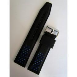 Bracelet Montre Silicone Sport Noir et Bleu