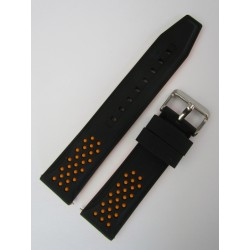 Black and Orange Sporty Silicone Strap