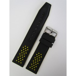 Bracelet Montre Silicone Sport Noir et Jaune
