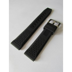 Black Silicone Strap with Perforation Effect