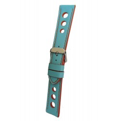 Turquoise Racing Watch Strap with Orange Stitching and Edges