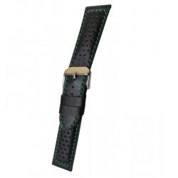 Bracelet Montre Noir/Vert Sport Cuir Perforé