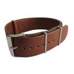 Bracelet Nato Cuir Marron Clair