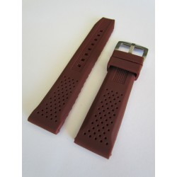 Brown Silicone Strap with Perforation Effect