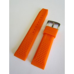 Bracelet Silicone Orange avec Effet Perforations