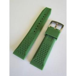 Bracelet Silicone Vert Armée avec Effet Perforations