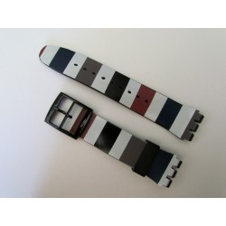 Color-striped Silicone Strap for Swatch Watch