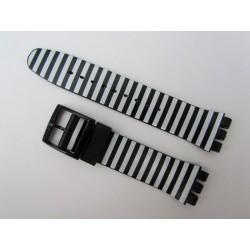 Bracelet Silicone Rayé Noir et Blanc pour montre Swatch
