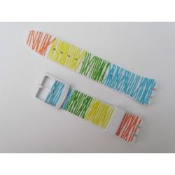 Bracelet Silicone Motif Coloré pour montre Swatch