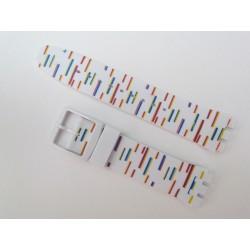 Bracelet Silicone Motif Traits de couleurs pour montre Swatch