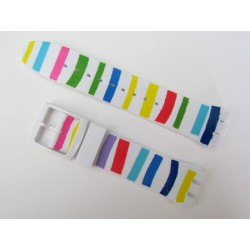 Color Striped Silicone Strap for Swatch Watch