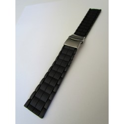 Black Silicone Strap With Folding Buckle and Square Links pattern