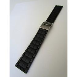 Bracelet Montre Silicone Noir Avec Boucle Déployante Motif Mailllons Carrés